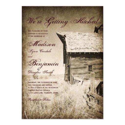 Rustic old barn country wedding invitations zazzle