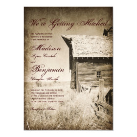 Rustic Old Barn Country Wedding Invitations 4.5