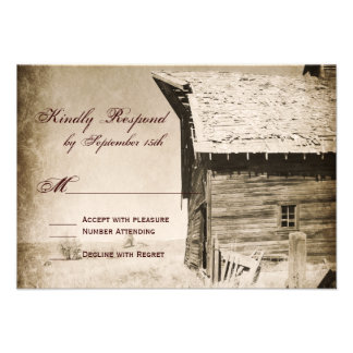 Rustic Old Barn Country Wedding RSVP Cards