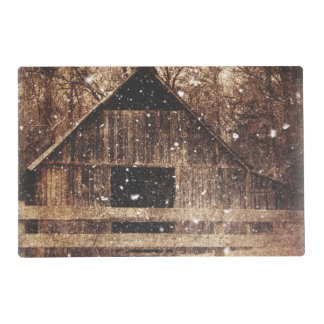 Rustic old barn in winter. placemat