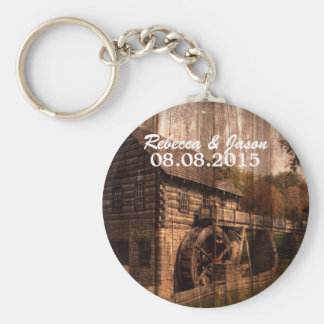 Rustic Old Barn With Water Wheel Keychain