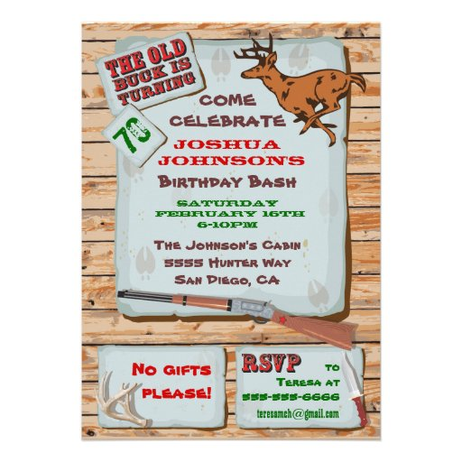 Personalized deer hunting party invitations custominvitations4u rustic old buck deer hunting birthday party custom invitation filmwisefo Images