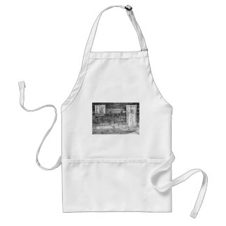 Rustic Old Colorado Barn Door and Window BW Adult Apron