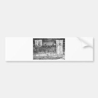 Rustic Old Colorado Barn Door and Window BW Bumper Sticker