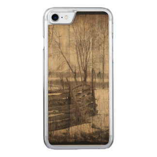 rustic  old fence in field design carved iPhone 8/7 case