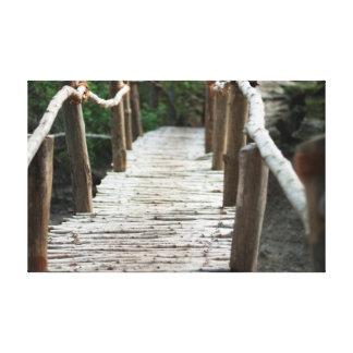 Rustic old foot bridge canvas print