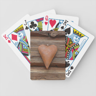 Rustic Old Heart on Log Cabin Wood Bicycle Playing Cards