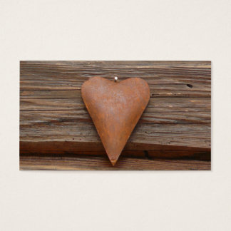 Rustic Old Heart on Log Cabin Wood Business Card