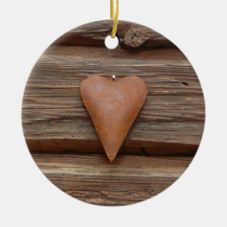 Rustic Old Heart on Log Cabin Wood Ceramic Ornament