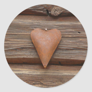 Rustic Old Heart on Log Cabin Wood Classic Round Sticker