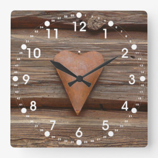 Rustic Old Heart on Log Cabin Wood Square Wall Clock