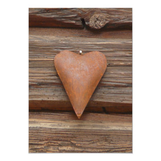Rustic Old Heart on Log Cabin Wood Announcements