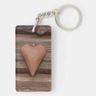 Rustic Old Heart on Log Cabin Wood Double-Sided Rectangular Acrylic Keychain