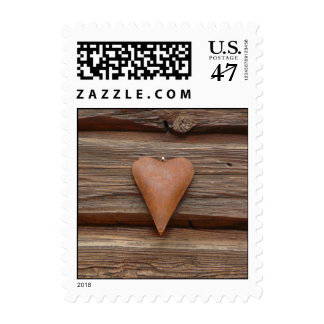 Rustic Old Heart on Log Cabin Wood Postage