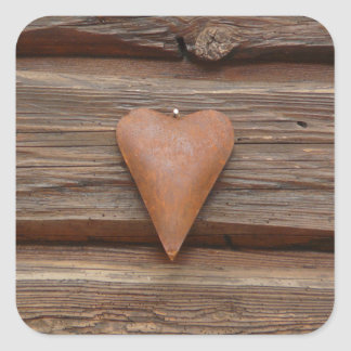 Rustic Old Heart on Log Cabin Wood Square Sticker