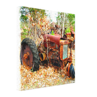 Rustic Old Junk Yard Farm Tractor Canvas Print