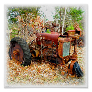Rustic Old Junk Yard Farm Tractor Poster