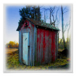 Rustic Old Junk Yard Outhouse Posters
