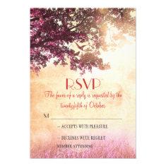 Rustic old oak tree wedding RSVP cards