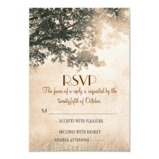 "Rustic old oak tree wedding RSVP cards 3.5"" X 5"" Invitation Card"