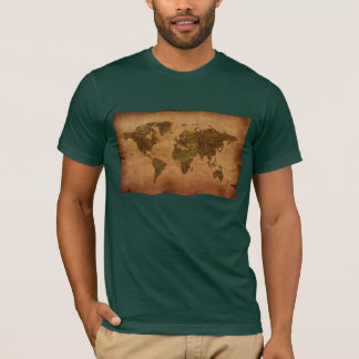Rustic Old-style World Map on Parchment background T-Shirt
