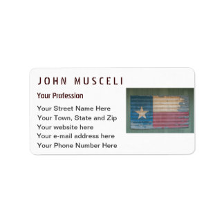 Rustic Old Texas Lone Star Flag cusomizable Label