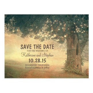 Rustic old tree and string lights save the date postcard