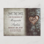 """rustic old tree save the date postcards<br><div class=""""desc"""">cute rustic country save the date postcards with old tree and carved love heart initials. For many more matching items,  please browse &quot;Carved Heart Tree Wedding Collection&quot; by Jinaiji</div>"""