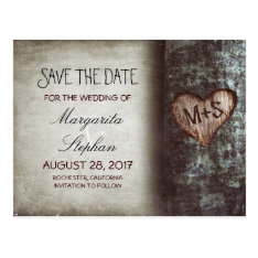 Rustic Old Tree Save The Date Postcards at Zazzle