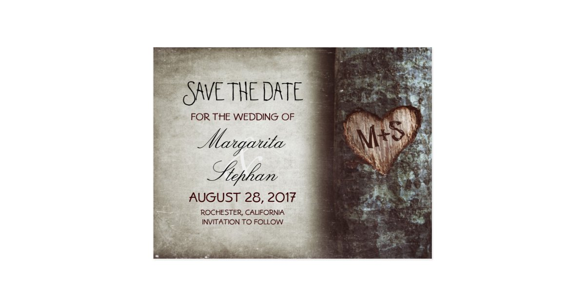 rustic old tree save the date postcards | Zazzle