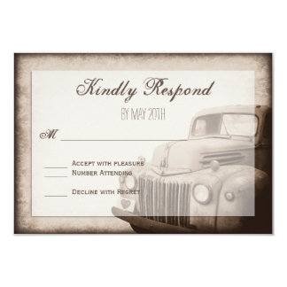 Rustic Old Truck Vintage Country Wedding RSVP Card