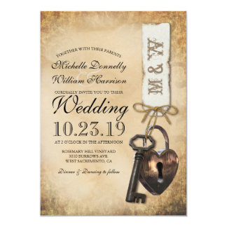Rustic Old Vintage Goth Skeleton Key Wedding Invitation
