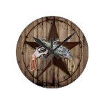 "rustic old western dual gun poste"" wall clock"