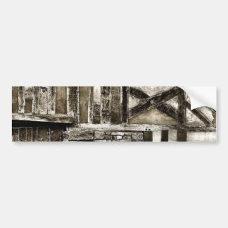 Rustic Old Wood and Stone Building Bumper Sticker