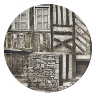 Rustic Old Wood and Stone Building Melamine Plate