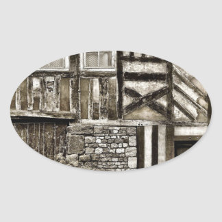Rustic Old Wood and Stone Building Oval Sticker