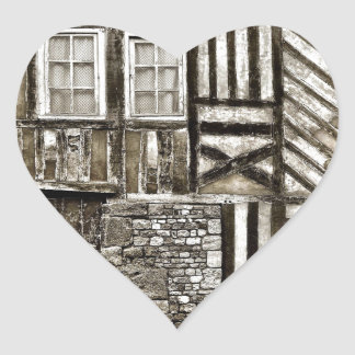 Rustic Old Wood and Stone House Heart Sticker