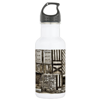 Rustic Old Wood and Stone House Water Bottle
