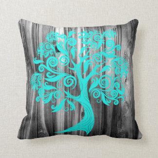 Rustic Old Wood Pillow with Aqua Swirl Tree