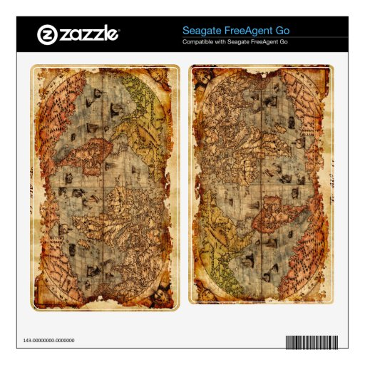 Rustic Old World Map 3 Seagate Hard Drive Skin Decals For FreeAgent Go