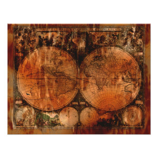 Rustic Old World Map Invitation Cards