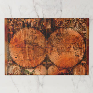 Rustic Old World Map Paper Placemat