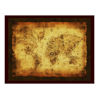 Rustic Old World Map Poster (large)