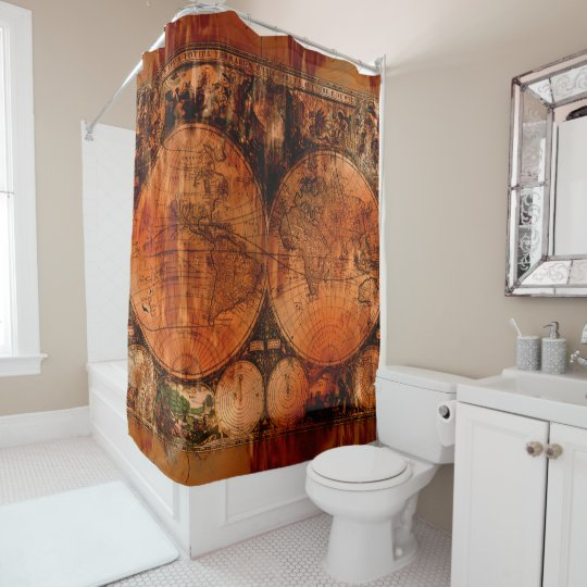 Rustic Old World Map Shower Curtain