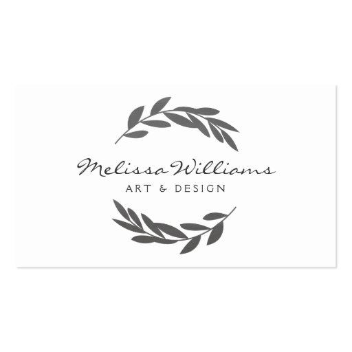 Rustic Olive Branch Wreath Logo Business Card
