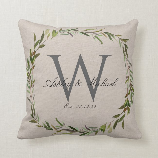 Rustic Olive Wreath Monogram Wedding Keepsake Throw Pillow