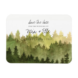 Rustic Ombre Watercolor Forest Save The Date Photo Magnet