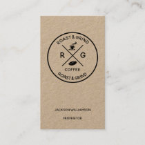 Rustic on Trend Artisan Coffee Company Business Card