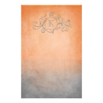 Rustic Orange and Grey Bohemian  Flourish Stationery