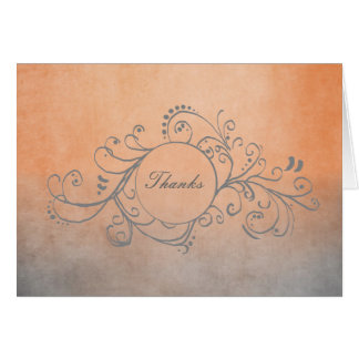Rustic Orange and Grey Bohemian Thank You Note Card